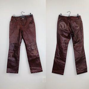 GAP Y2K Genuine Leather Pants Boot Cut Sz 6